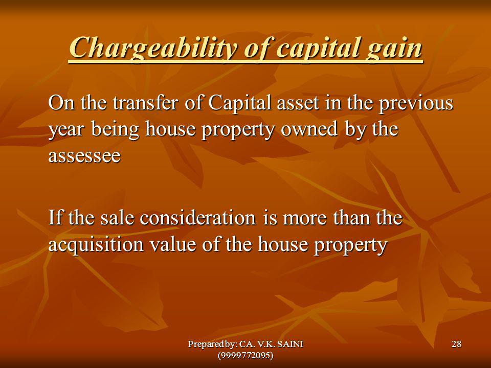 Chargeability of capital gain On the transfer of Capital asset in the previous year being house property owned by the assessee If the sale considerati