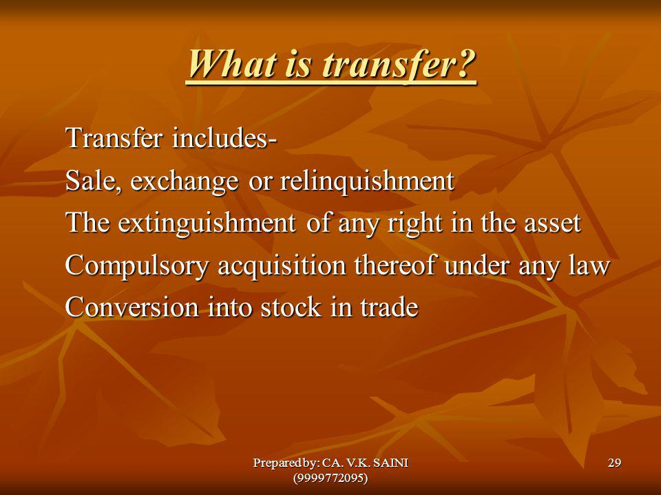 What is transfer? Transfer includes- Sale, exchange or relinquishment The extinguishment of any right in the asset Compulsory acquisition thereof unde