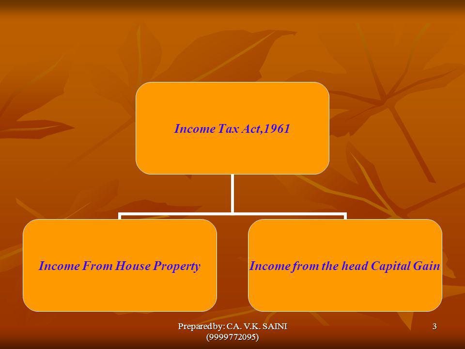 Income Tax Act,1961 Income From House Property Income from the head Capital Gain 3Prepared by: CA. V.K. SAINI (9999772095)