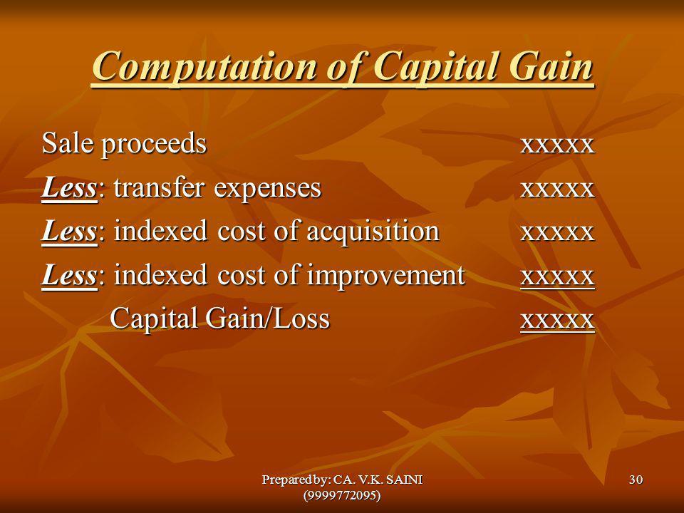 Computation of Capital Gain Sale proceedsxxxxx Less: transfer expensesxxxxx Less: indexed cost of acquisition xxxxx Less: indexed cost of improvementx