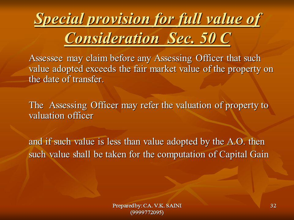 Special provision for full value of Consideration Sec. 50 C Assessee may claim before any Assessing Officer that such value adopted exceeds the fair m