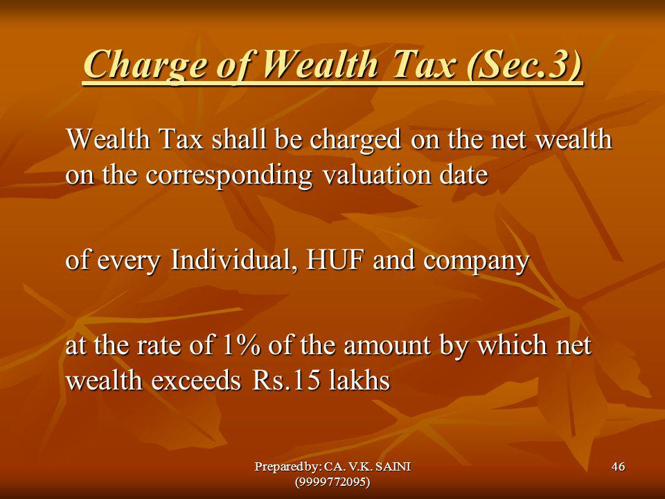 Charge of Wealth Tax (Sec.3) Wealth Tax shall be charged on the net wealth on the corresponding valuation date of every Individual, HUF and company at
