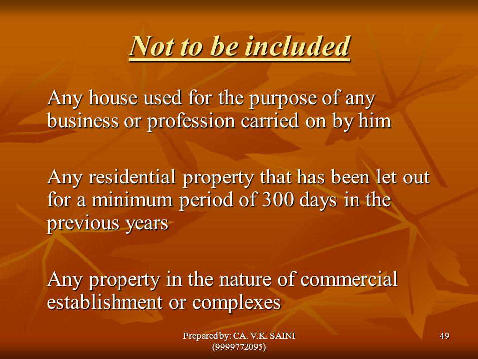 Not to be included Any house used for the purpose of any business or profession carried on by him Any residential property that has been let out for a