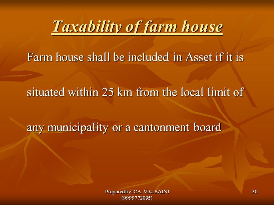 Taxability of farm house Farm house shall be included in Asset if it is situated within 25 km from the local limit of any municipality or a cantonment