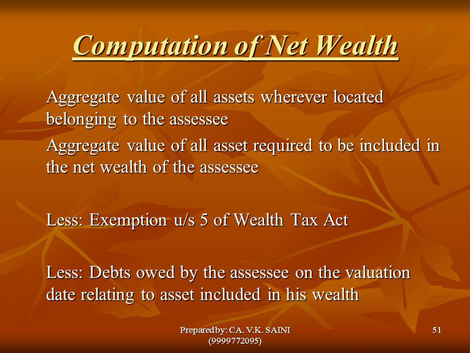Computation of Net Wealth Aggregate value of all assets wherever located belonging to the assessee Aggregate value of all asset required to be include