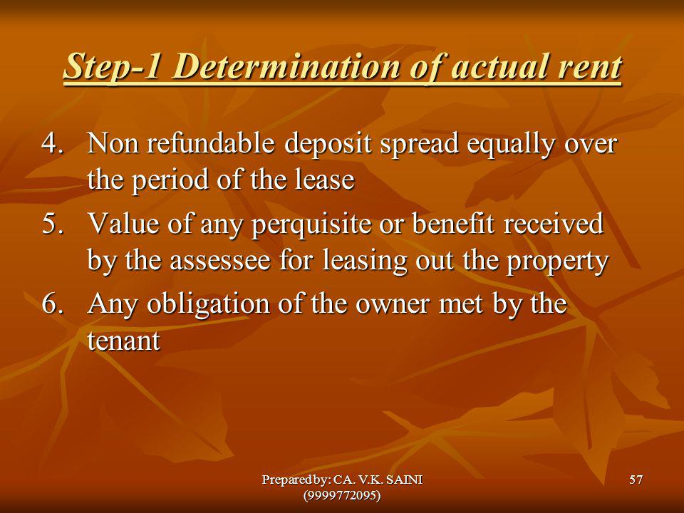 Step-1 Determination of actual rent 4. Non refundable deposit spread equally over the period of the lease 5.Value of any perquisite or benefit receive
