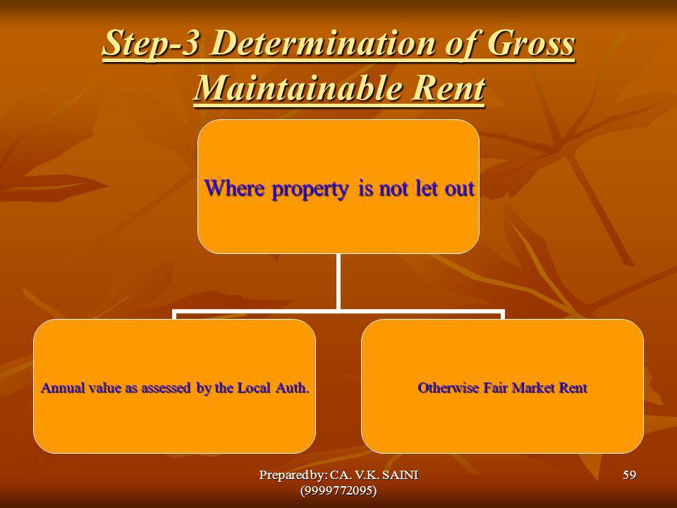 Step-3 Determination of Gross Maintainable Rent Where property is not let out Annual value as assessed by the Local Auth. Otherwise Fair Market Rent 5