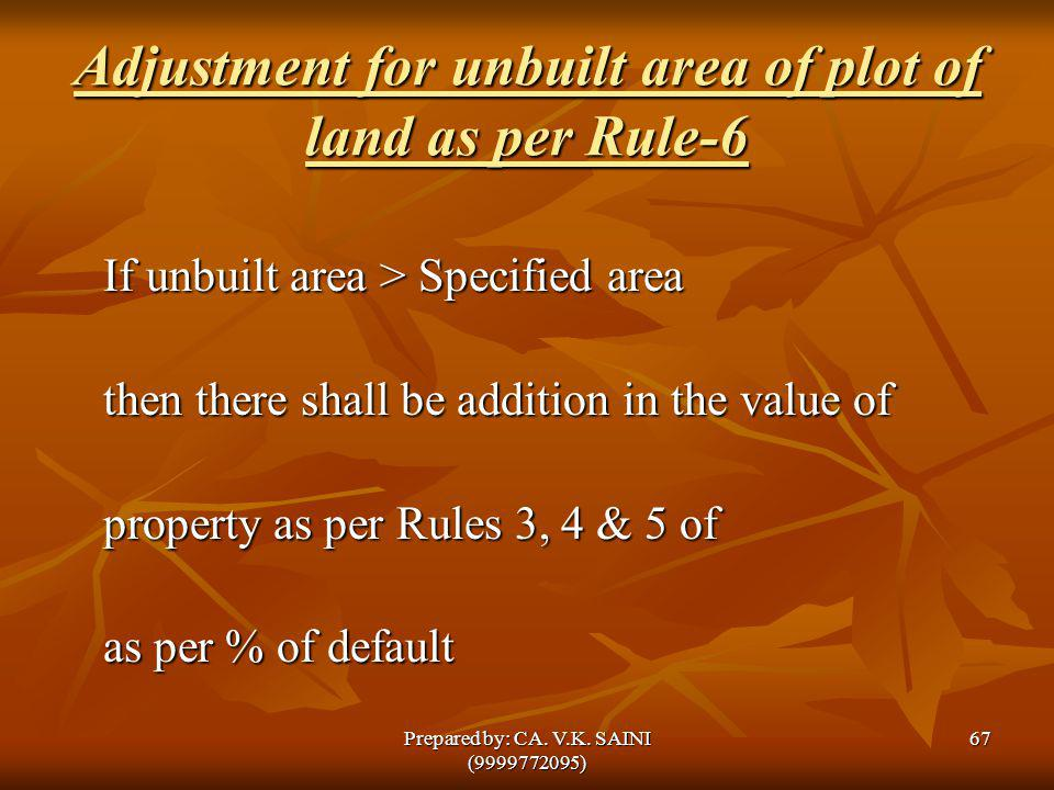 Adjustment for unbuilt area of plot of land as per Rule-6 If unbuilt area > Specified area then there shall be addition in the value of property as pe