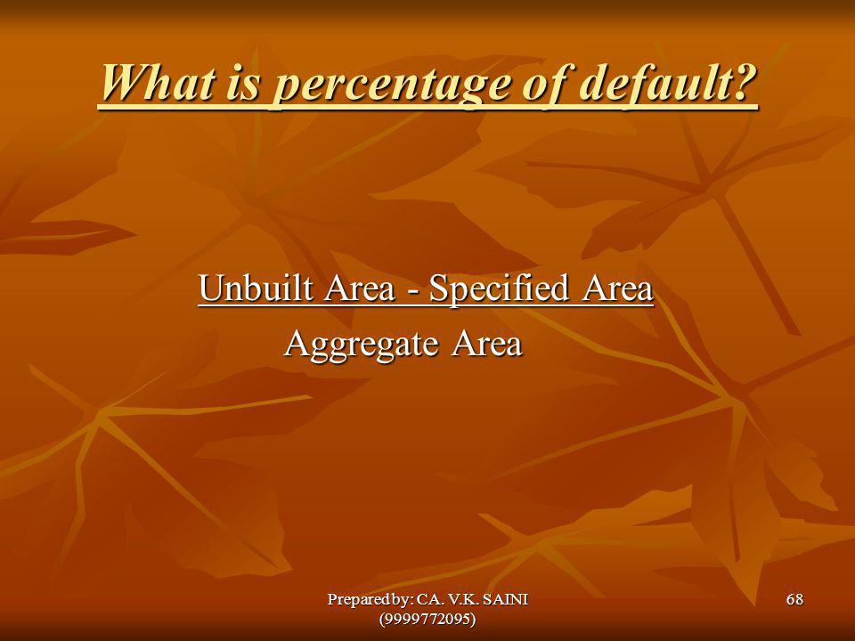 What is percentage of default? Unbuilt Area - Specified Area Unbuilt Area - Specified Area Aggregate Area Aggregate Area 68Prepared by: CA. V.K. SAINI