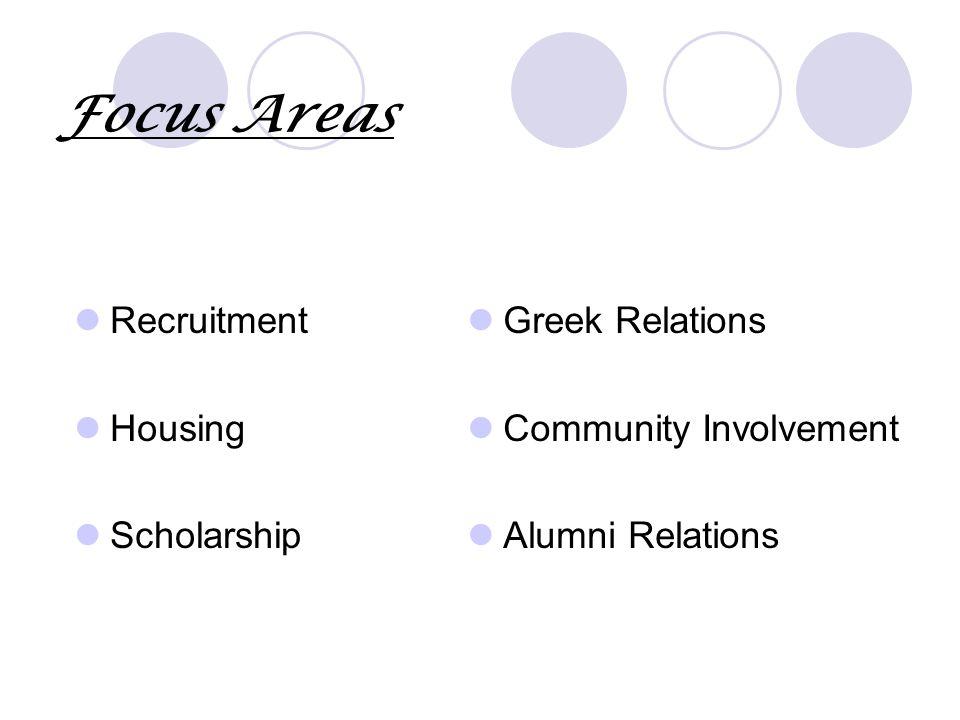 Focus Areas Recruitment Housing Scholarship Greek Relations Community Involvement Alumni Relations