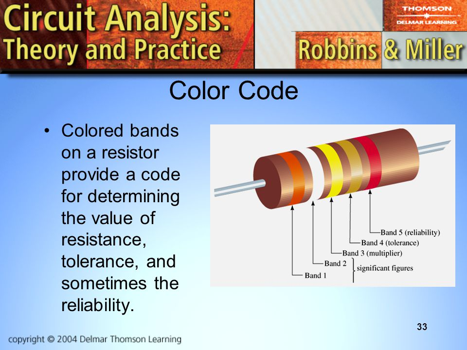 33 Color Code Colored bands on a resistor provide a code for determining the value of resistance, tolerance, and sometimes the reliability.