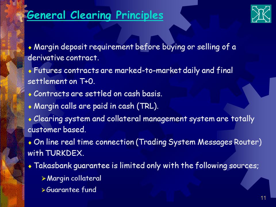 11 General Clearing Principles Margin deposit requirement before buying or selling of a derivative contract.