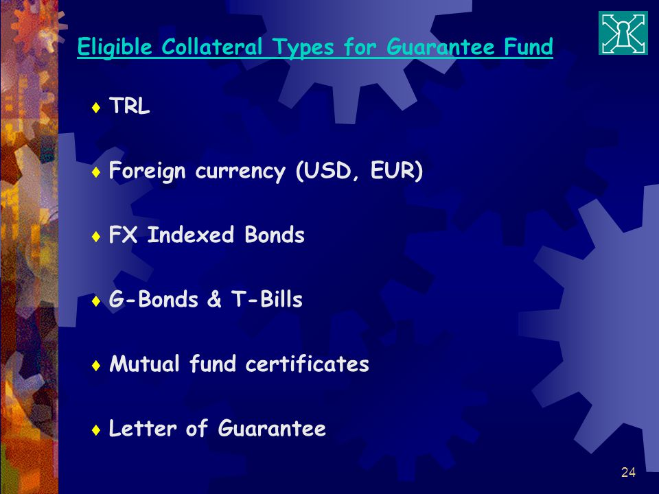 24 Eligible Collateral Types for Guarantee Fund TRL Foreign currency (USD, EUR) FX Indexed Bonds G-Bonds & T-Bills Mutual fund certificates Letter of Guarantee