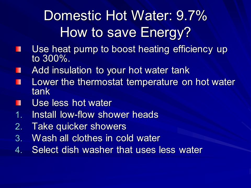 Domestic Hot Water: 9.7% How to save Energy. Use heat pump to boost heating efficiency up to 300%.