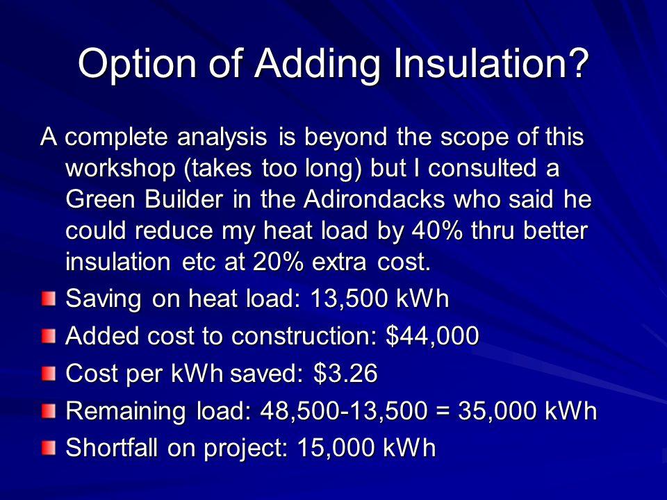 Option of Adding Insulation.