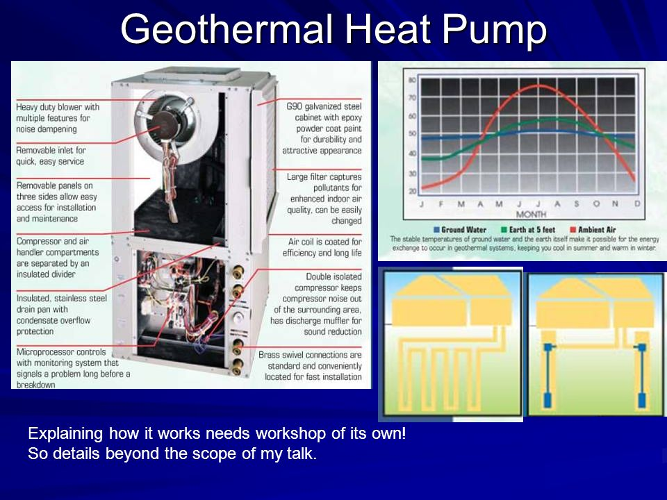 Geothermal Heat Pump Explaining how it works needs workshop of its own.