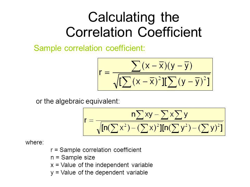Calculating the Correlation Coefficient where: r = Sample correlation coefficient n = Sample size x = Value of the independent variable y = Value of t