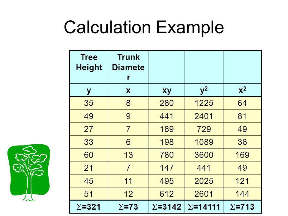 Calculation Example Tree Height Trunk Diamete r yxxyy2y2 x2x2 358280122564 499441240181 27718972949 336198108936 60137803600169 21714744149 4511495202