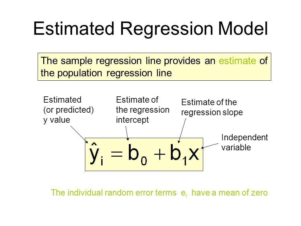 The sample regression line provides an estimate of the population regression line Estimated Regression Model Estimate of the regression intercept Esti