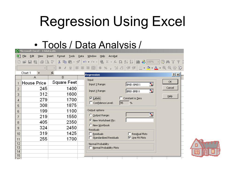 Regression Using Excel Tools / Data Analysis / Regression
