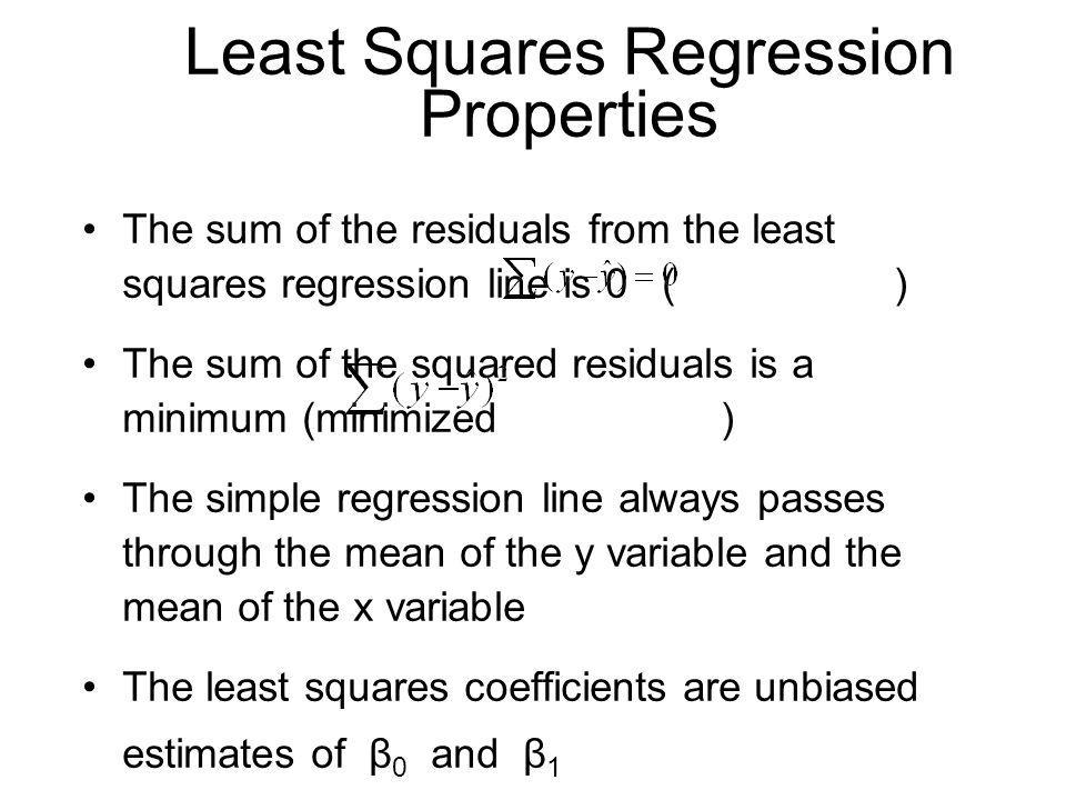 Least Squares Regression Properties The sum of the residuals from the least squares regression line is 0 ( ) The sum of the squared residuals is a min