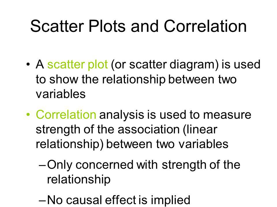 Scatter Plots and Correlation A scatter plot (or scatter diagram) is used to show the relationship between two variables Correlation analysis is used