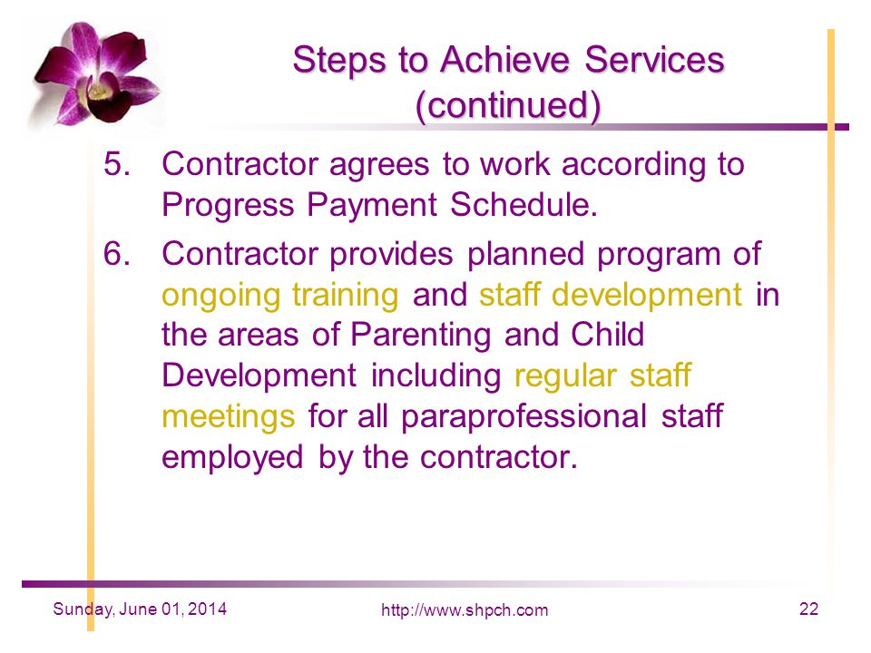http://www.shpch.com 22Sunday, June 01, 2014 Steps to Achieve Services (continued) 5.Contractor agrees to work according to Progress Payment Schedule.