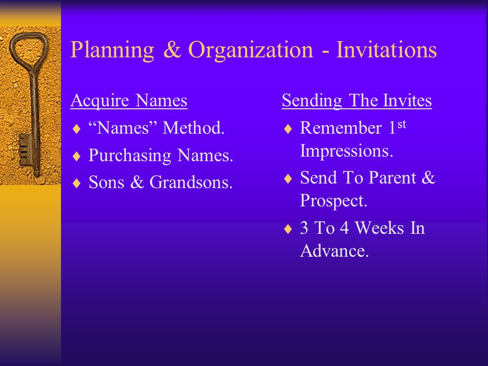 Planning & Organization - Invitations Acquire Names Names Method.