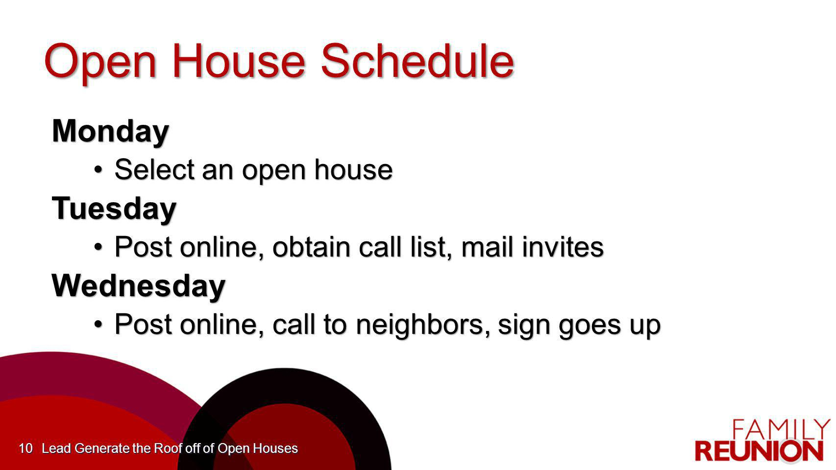 Open House Schedule Monday Select an open houseSelect an open houseTuesday Post online, obtain call list, mail invitesPost online, obtain call list, m