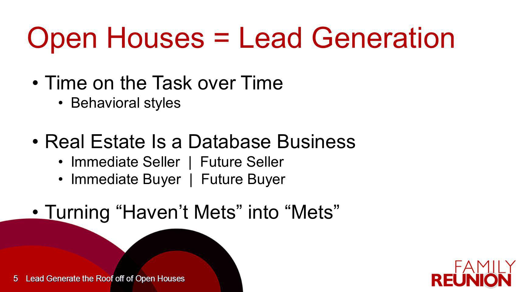Open Houses = Lead Generation Time on the Task over TimeTime on the Task over Time Behavioral stylesBehavioral styles Real Estate Is a Database Busine