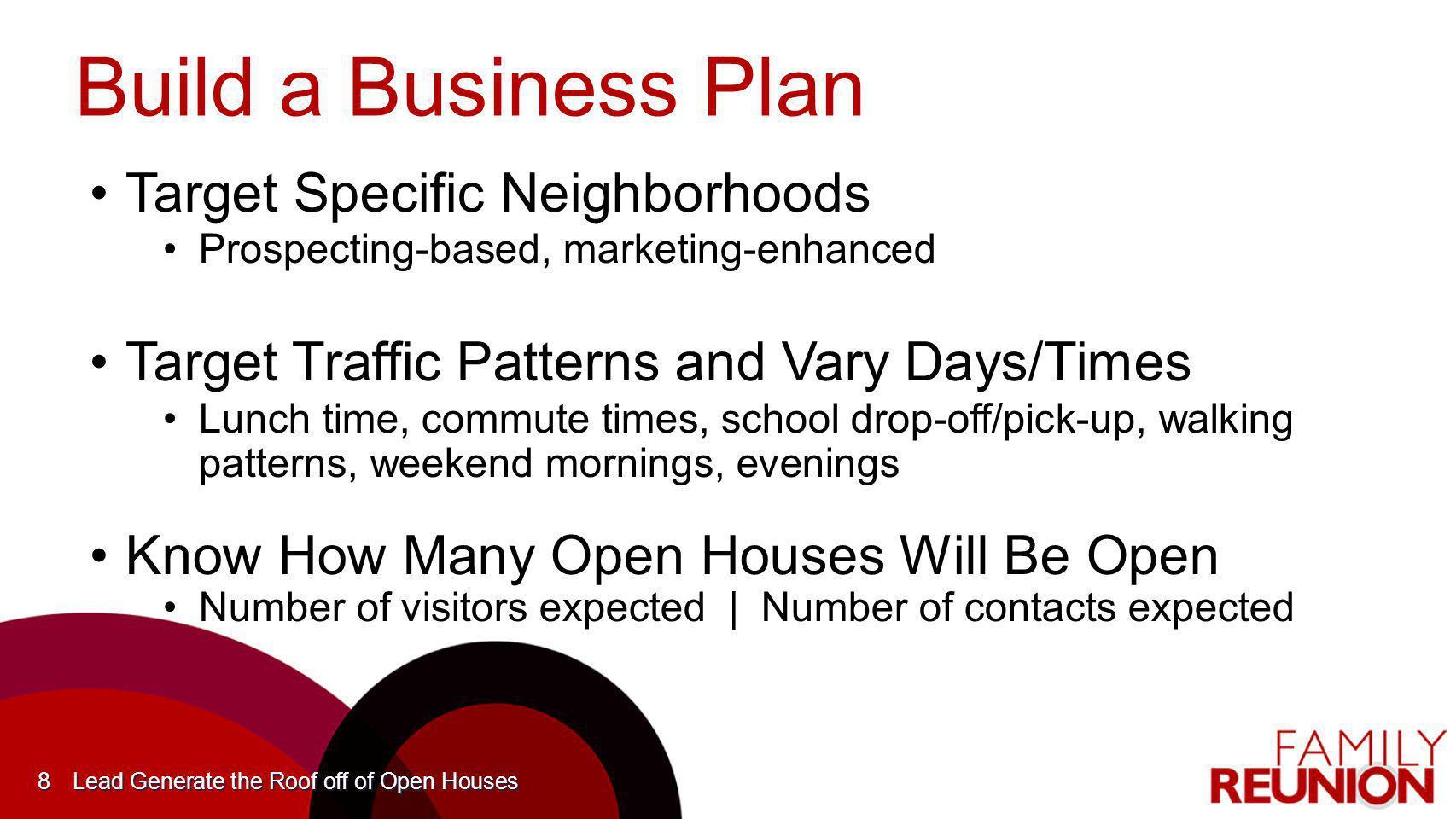 Build a Business Plan Target Specific NeighborhoodsTarget Specific Neighborhoods Prospecting-based, marketing-enhancedProspecting-based, marketing-enh