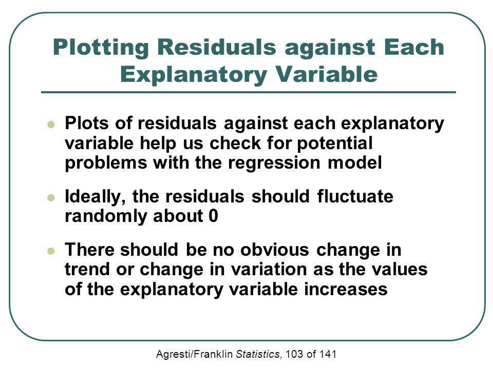 Agresti/Franklin Statistics, 103 of 141 Plotting Residuals against Each Explanatory Variable Plots of residuals against each explanatory variable help