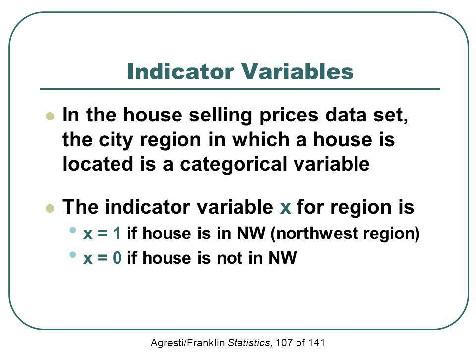 Agresti/Franklin Statistics, 107 of 141 Indicator Variables In the house selling prices data set, the city region in which a house is located is a cat