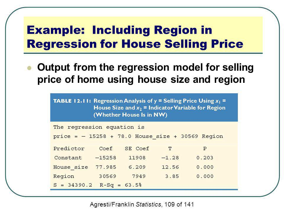 Agresti/Franklin Statistics, 109 of 141 Example: Including Region in Regression for House Selling Price Output from the regression model for selling p