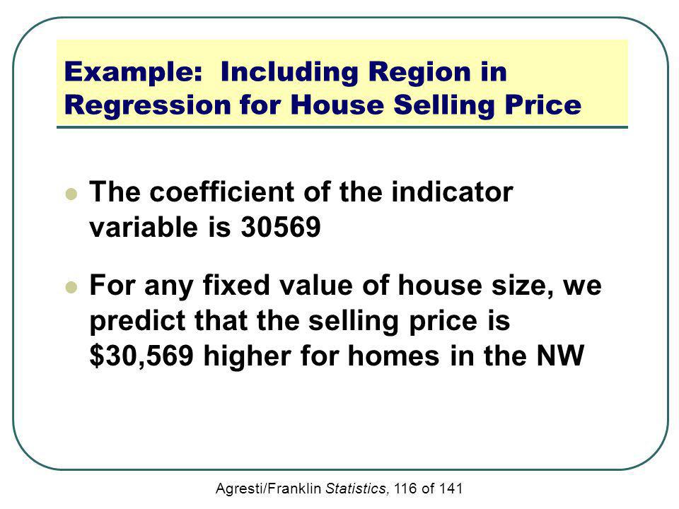 Agresti/Franklin Statistics, 116 of 141 Example: Including Region in Regression for House Selling Price The coefficient of the indicator variable is 3