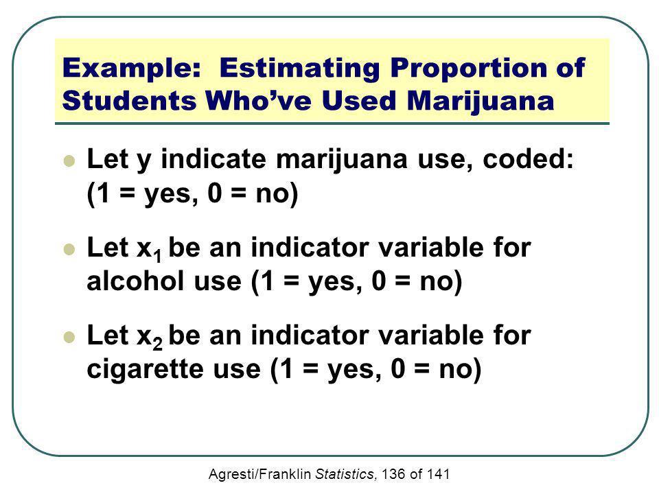 Agresti/Franklin Statistics, 136 of 141 Example: Estimating Proportion of Students Whove Used Marijuana Let y indicate marijuana use, coded: (1 = yes,