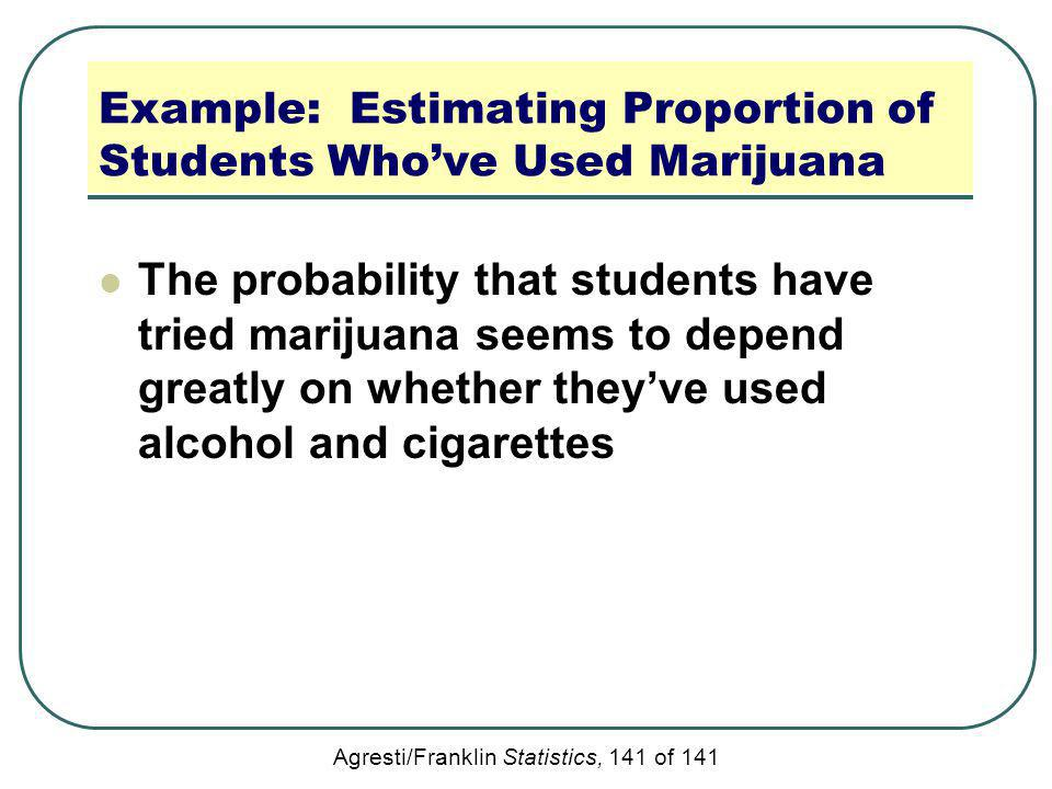 Agresti/Franklin Statistics, 141 of 141 Example: Estimating Proportion of Students Whove Used Marijuana The probability that students have tried marij