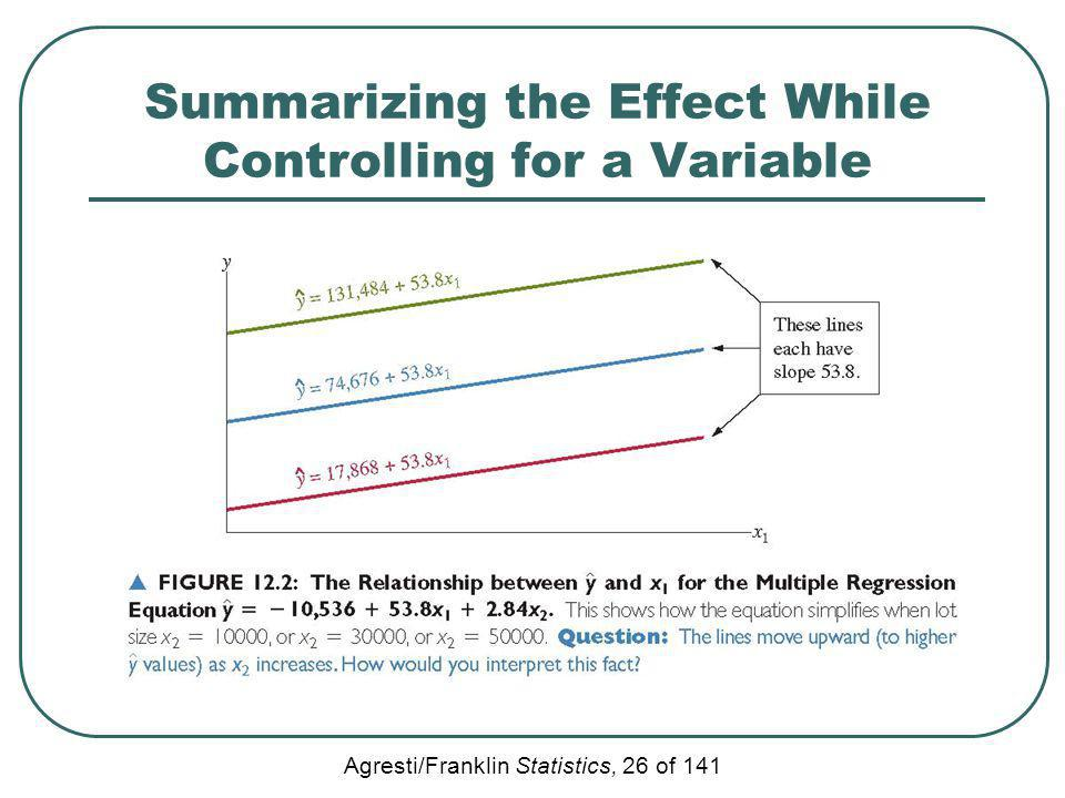 Agresti/Franklin Statistics, 26 of 141 Summarizing the Effect While Controlling for a Variable