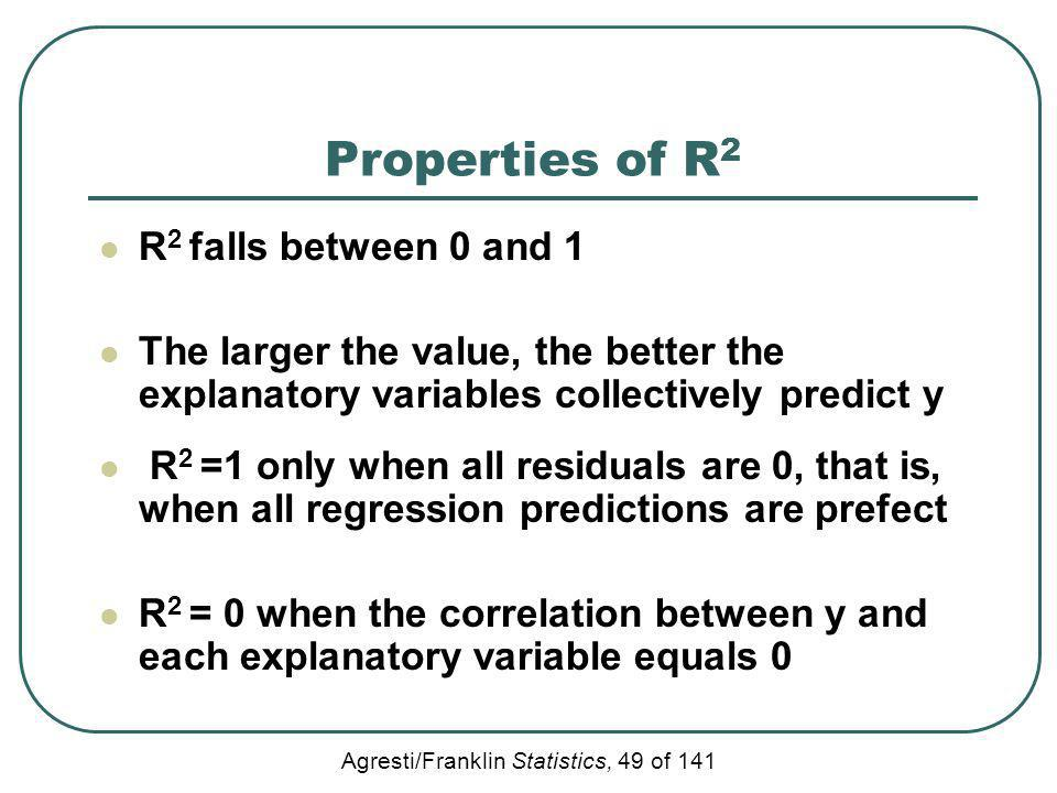Agresti/Franklin Statistics, 49 of 141 Properties of R 2 R 2 falls between 0 and 1 The larger the value, the better the explanatory variables collecti