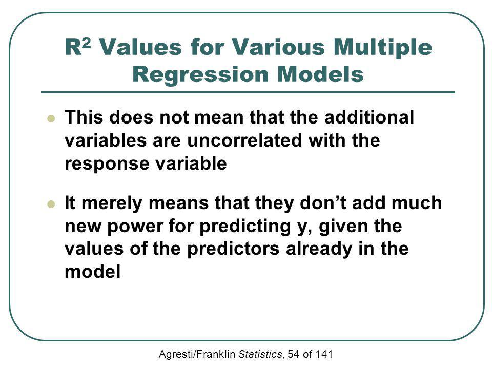 Agresti/Franklin Statistics, 54 of 141 R 2 Values for Various Multiple Regression Models This does not mean that the additional variables are uncorrel