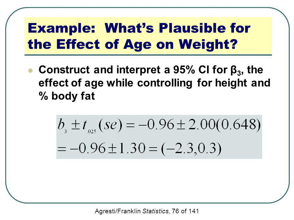 Agresti/Franklin Statistics, 76 of 141 Example: Whats Plausible for the Effect of Age on Weight? Construct and interpret a 95% CI for β 3, the effect