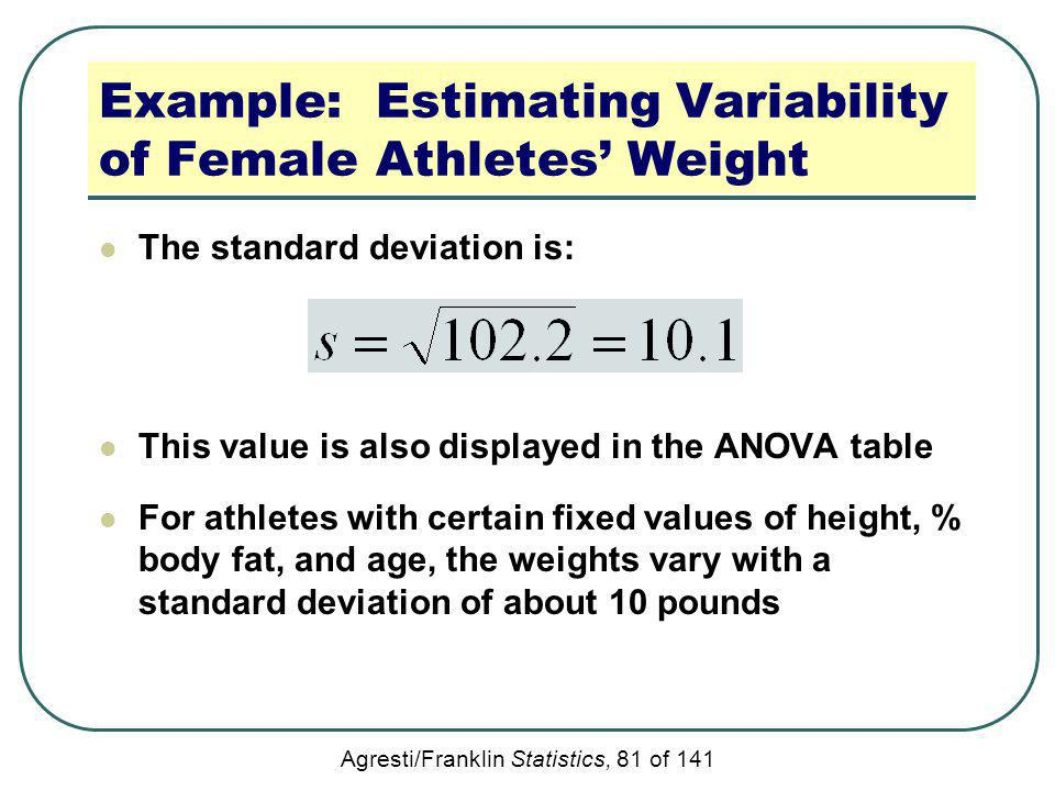 Agresti/Franklin Statistics, 81 of 141 Example: Estimating Variability of Female Athletes Weight The standard deviation is: This value is also display