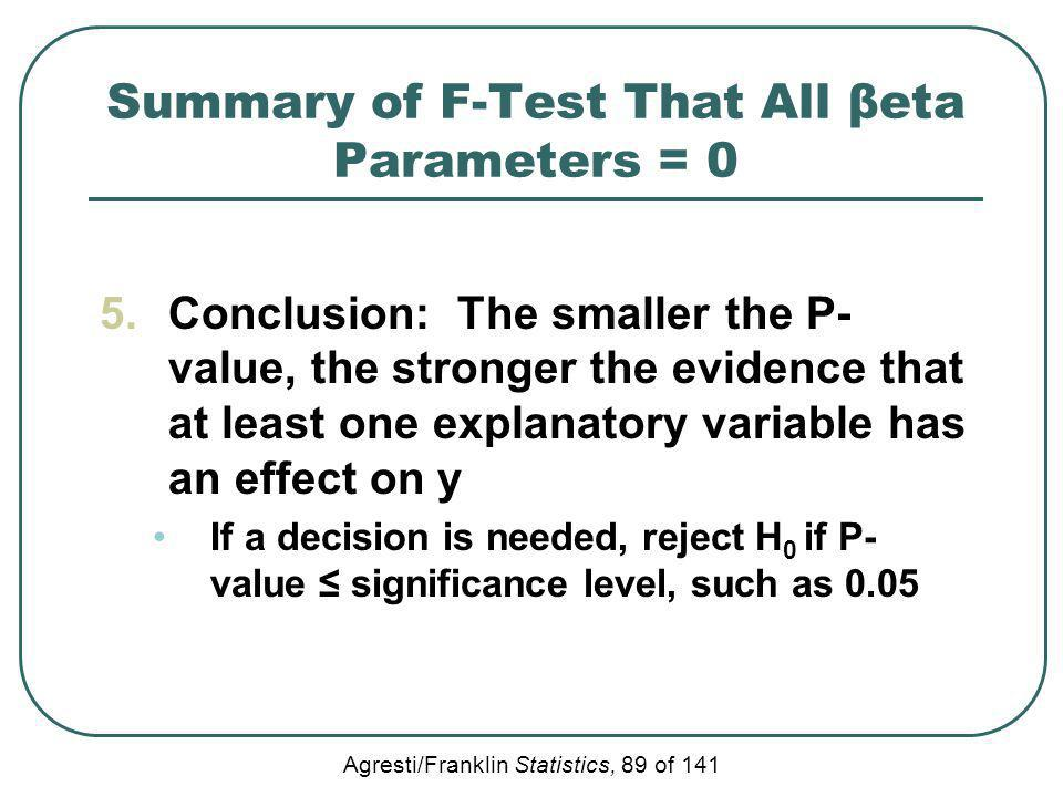 Agresti/Franklin Statistics, 89 of 141 Summary of F-Test That All βeta Parameters = 0 5.Conclusion: The smaller the P- value, the stronger the evidenc