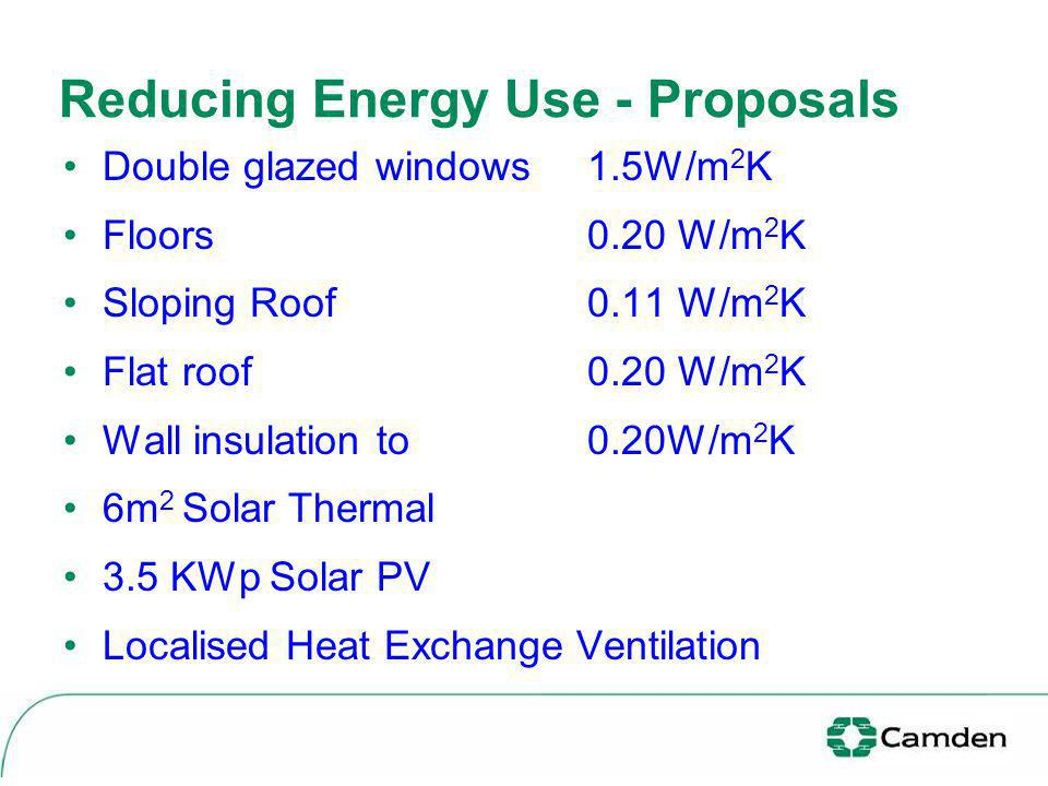 Reducing Energy Use - Proposals Double glazed windows 1.5W/m 2 K Floors 0.20 W/m 2 K Sloping Roof 0.11 W/m 2 K Flat roof0.20 W/m 2 K Wall insulation t