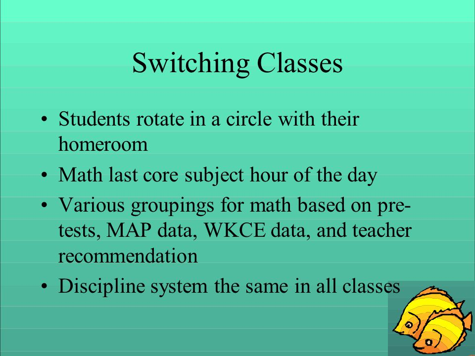 Switching Classes Students rotate in a circle with their homeroom Math last core subject hour of the day Various groupings for math based on pre- tests, MAP data, WKCE data, and teacher recommendation Discipline system the same in all classes