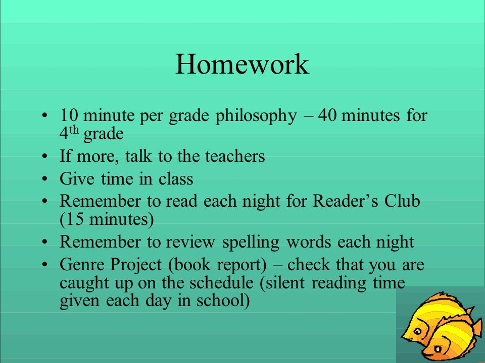 Homework 10 minute per grade philosophy – 40 minutes for 4 th grade If more, talk to the teachers Give time in class Remember to read each night for Readers Club (15 minutes) Remember to review spelling words each night Genre Project (book report) – check that you are caught up on the schedule (silent reading time given each day in school)