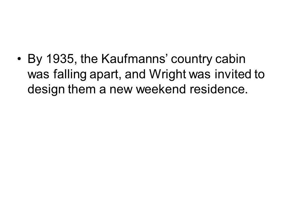 By 1935, the Kaufmanns country cabin was falling apart, and Wright was invited to design them a new weekend residence.