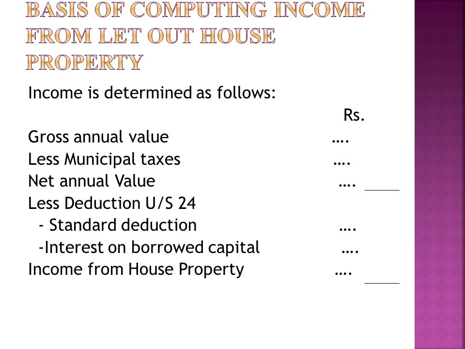 Income is determined as follows: Rs.