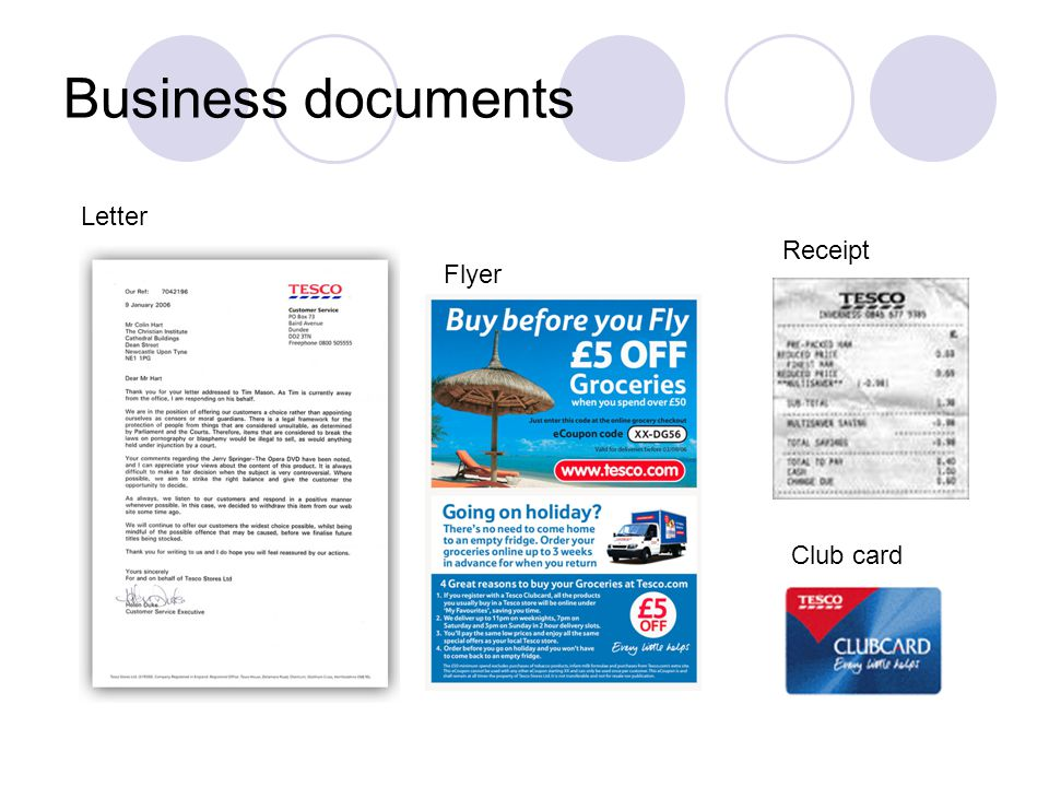 Business documents Letter Receipt Club card Flyer