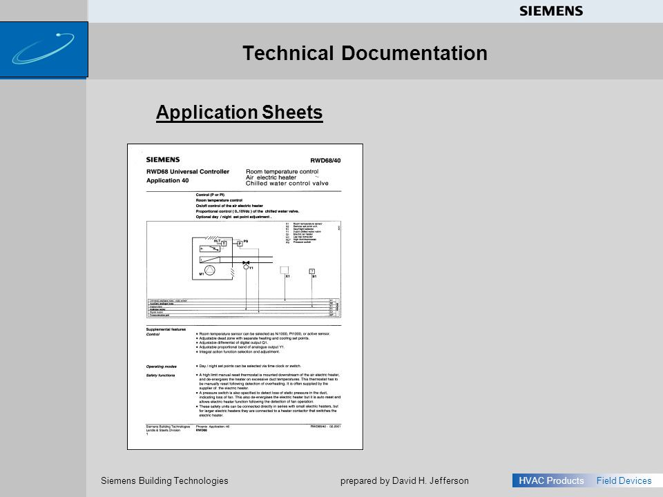 s Siemens Building Technologies HVAC ProductsField Devices prepared by David H. Jefferson Technical Documentation Application Sheets